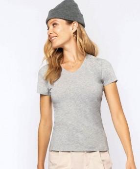 Ženska majica z elastanom z V izrezom K3015
